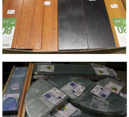 Stock mensole in legno e vetro 2076pz