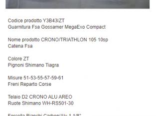 BICI BIANCHI D2 CRONO TRIATHLON ALU SHIMANO 105 10V USATA 1 SOLA VOLTA NUOVA