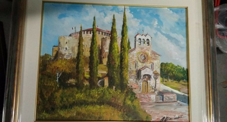 Quadro Marianelli Olio su tela 30×40 Gorizia Borgo Castello Cerificato compresa pregiata cornice