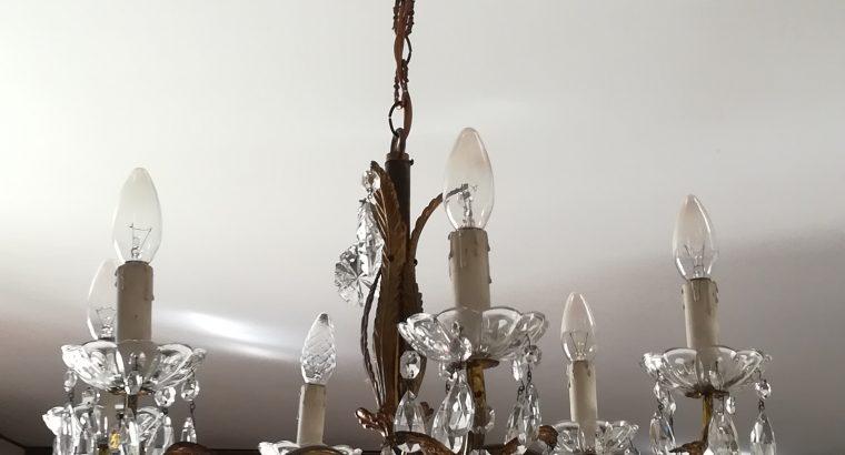 Lampadario a gocce, in cristallo, 6 luci, vendesi